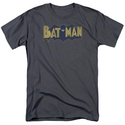 Batman Vintage Splatter Logo Grey Tshirt