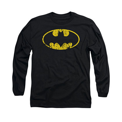 Batman Distressed Logo Black Long Sleeve T-Shirt