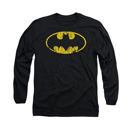 Batman Distressed Logo Black Long Sleeve T-Shirt