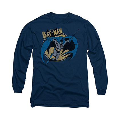 Batman Through The Night Blue Long Sleeve T-Shirt