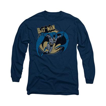 Batman Through The Night Blue Long Sleeve T-Shirt