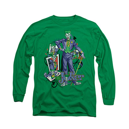 Batman Joker Wild Cards Green Long Sleeve T-Shirt
