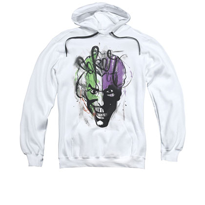 Batman Joker Airbrush Men's White Pullover Hoodie