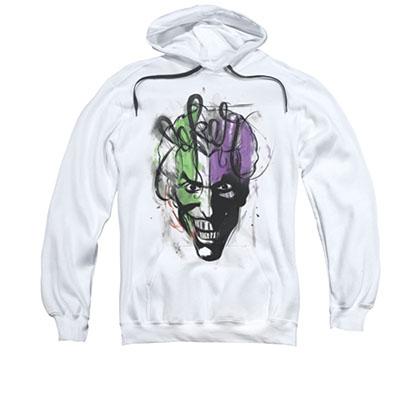 Batman Joker Airbrush Men's White Pullover Hoodie