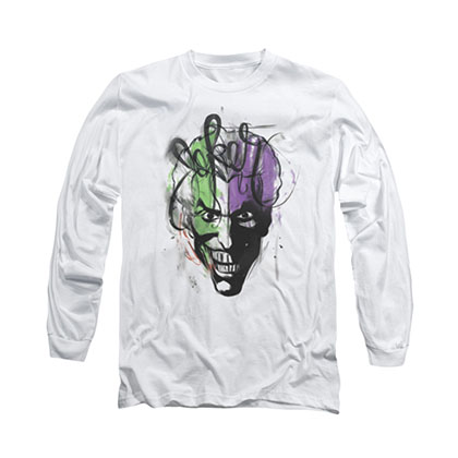 Batman Joker Airbrush White Long Sleeve T-Shirt