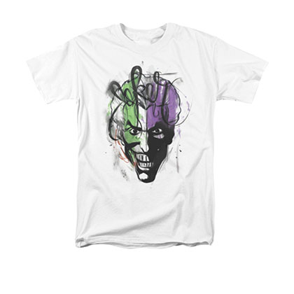 Batman Men's White Joker Airbrush Tee Shirt