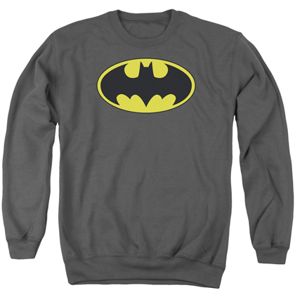 Batman Classic Yellow Logo Grey Crewneck Sweatshirt