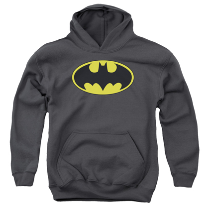 Batman Classic Logo Grey Youth Hoodie