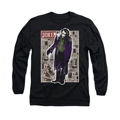 Batman Dark Knight Joker Funny Pages Black Long Sleeve T-Shirt