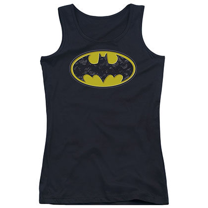 Batman Bats In Logo Black Juniors Tank Top