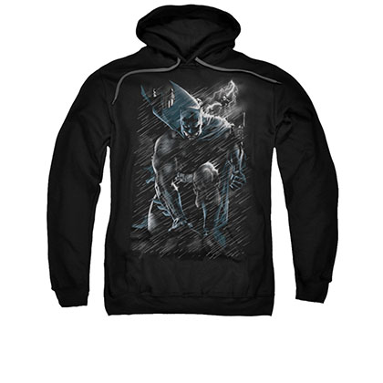 Batman In The Rain Men's Black Pullover Hoodie