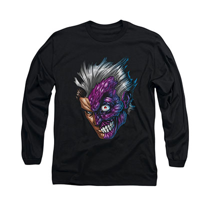 Batman Two Face Comic Black Long Sleeve T-Shirt
