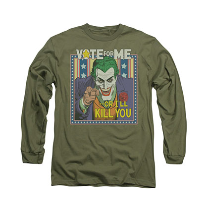Batman Vote For Me Joker Green Long Sleeve T-Shirt