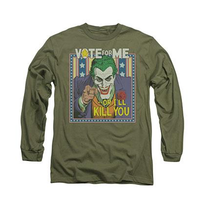 Batman Vote For Me Joker Green Long Sleeve T-Shirt