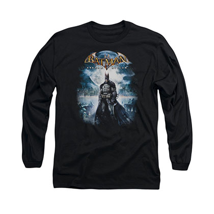 Batman Arkham Asylum Game Cover Black Long Sleeve T-Shirt
