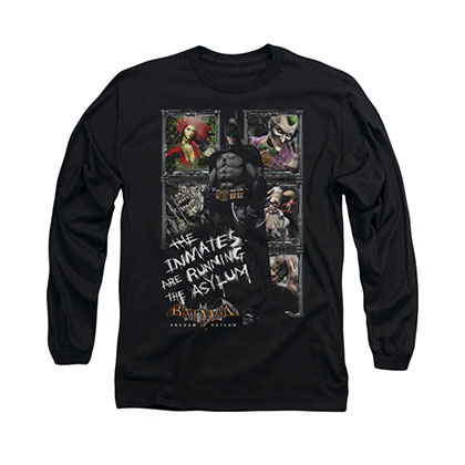 Batman Arkham Asylum Inmates Black Long Sleeve T-Shirt