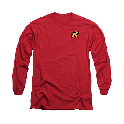 Batman Robin Logo Red Long Sleeve T-Shirt