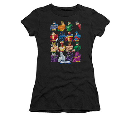 Batman Juniors Black Cast Of Characters Tee Shirt