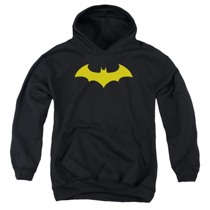 Batman Yellow Hush Logo Youth Hoodie