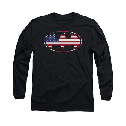 Batman American Flag Logo Black Long Sleeve T-Shirt