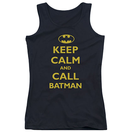 Batman Keep Calm Black Juniors Tank Top