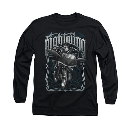 Batman Nightwing Biker Black Long Sleeve T-Shirt
