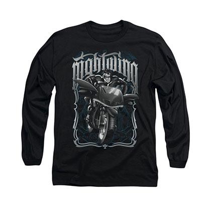 Batman Nightwing Biker Black Long Sleeve T-Shirt