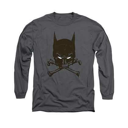 Batman Bat And Bones Gray Long Sleeve T-Shirt