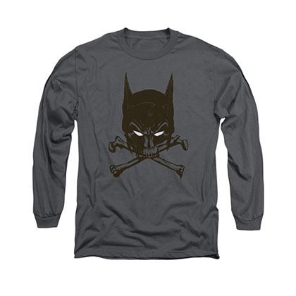 Batman Bat And Bones Gray Long Sleeve T-Shirt