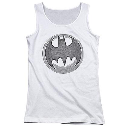 Batman Knight Knockout White Juniors Tank Top