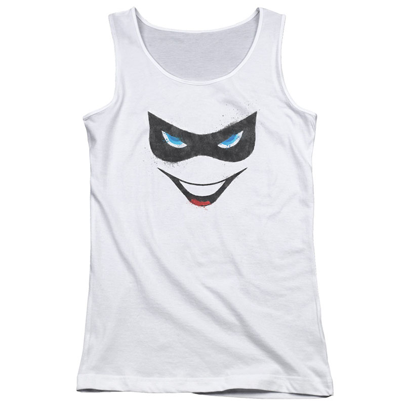Harley Quinn Face White Juniors Tank Top