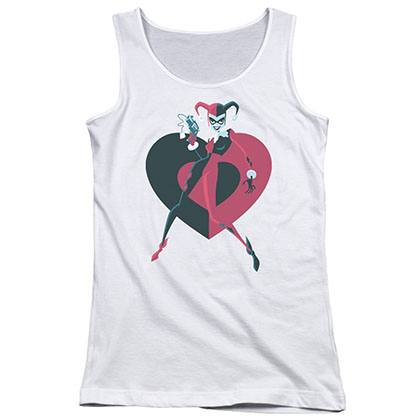 Batman Harley Quinn Heart White Juniors Tank Top