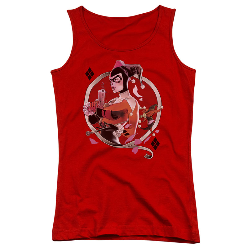 Batman Harley Quinn Diamonds Red Juniors Tank Top