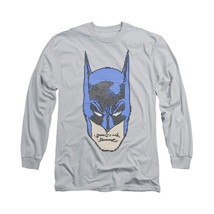Batman Bitman Pixels Gray Long Sleeve T-Shirt