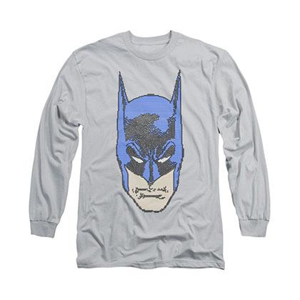 Batman Bitman Pixels Gray Long Sleeve T-Shirt