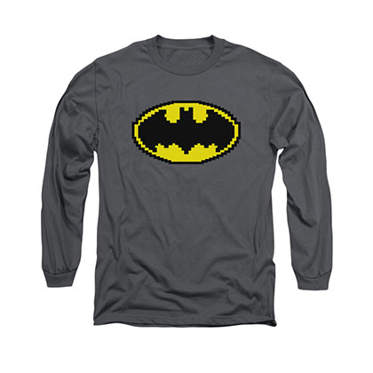 Batman Pixel Symbol Gray Long Sleeve T-Shirt