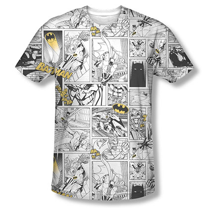Batman Comic Pages White Sublimation Tee Shirt