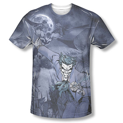 Batman Men's Gray Catch The Joker Sublimation Tee Shirt