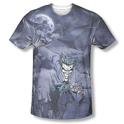 Batman Men's Gray Catch The Joker Sublimation Tee Shirt