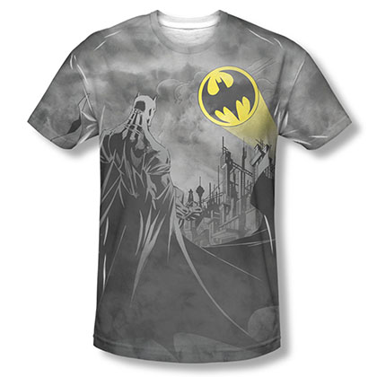 Batman Men's Gray Sublimation Heed The Call T-Shirt