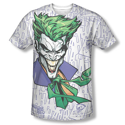 Batman Men's White Sublimation Laughing Joker T-Shirt