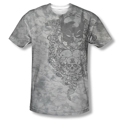 Batman Men's Gray Sublimation Overtaken Tee Shirt