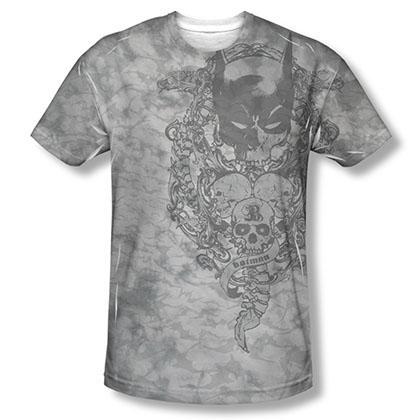 Batman Men's Gray Sublimation Overtaken Tee Shirt