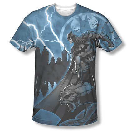 Batman Men's Blue Sublimation Lightning Strikes Tee Shirt
