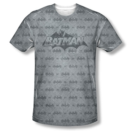 Batman Men's Gray Bat Argyle Sublimation Tee Shirt