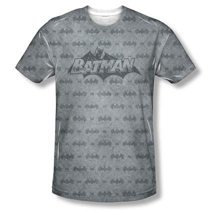 Batman Men's Gray Bat Argyle Sublimation Tee Shirt