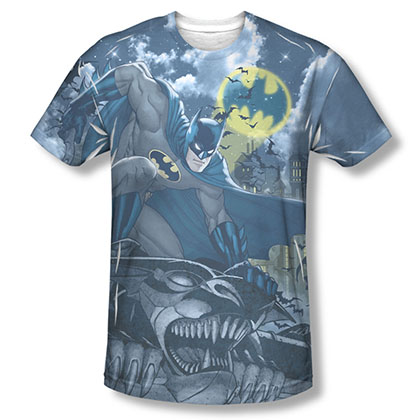 Batman Men's Blue Sublimation Gotham Gargoyle Tee Shirt