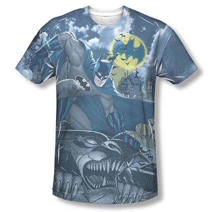 Batman Men's Blue Sublimation Gotham Gargoyle Tee Shirt