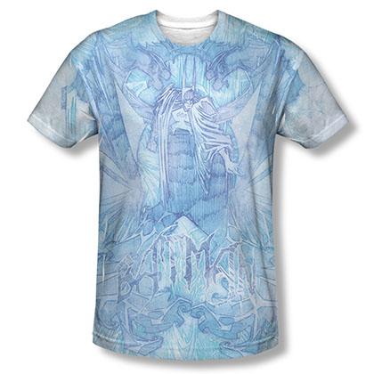 Batman Men's Blue Brooding Sublimation Tee Shirt