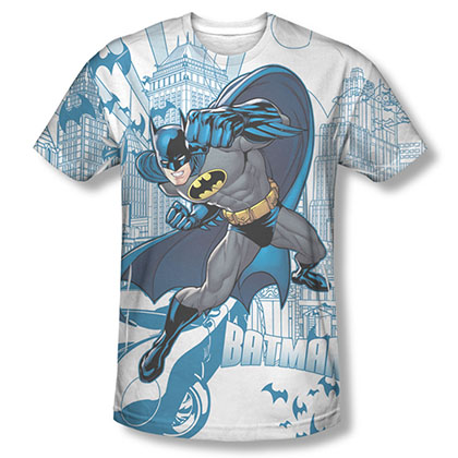 Batman Men's White Sublimation Skyline T-Shirt